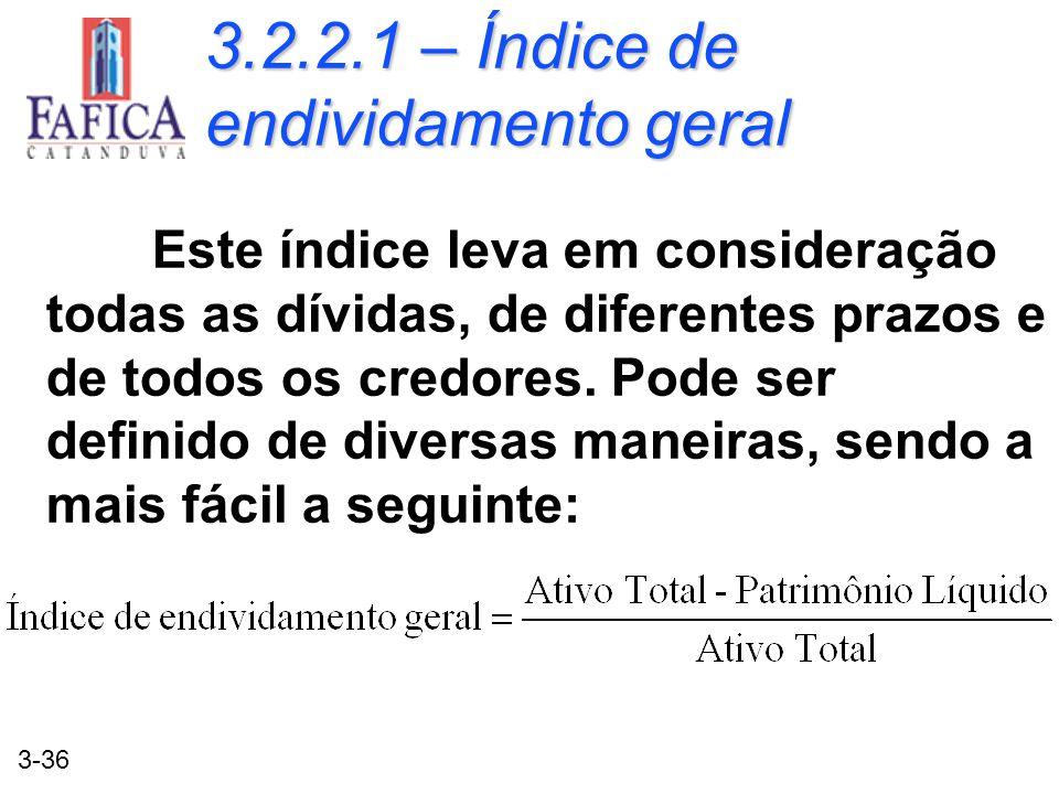 3.2.2.1 – Índice de endividamento geral