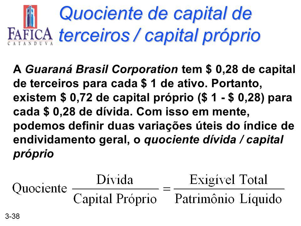 Quociente de capital de terceiros / capital próprio
