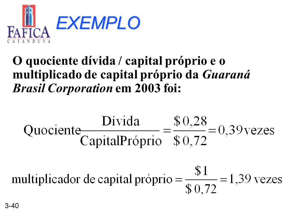 EXEMPLO O quociente dívida / capital próprio e o multiplicado de capital próprio da Guaraná Brasil Corporation em 2003 foi: