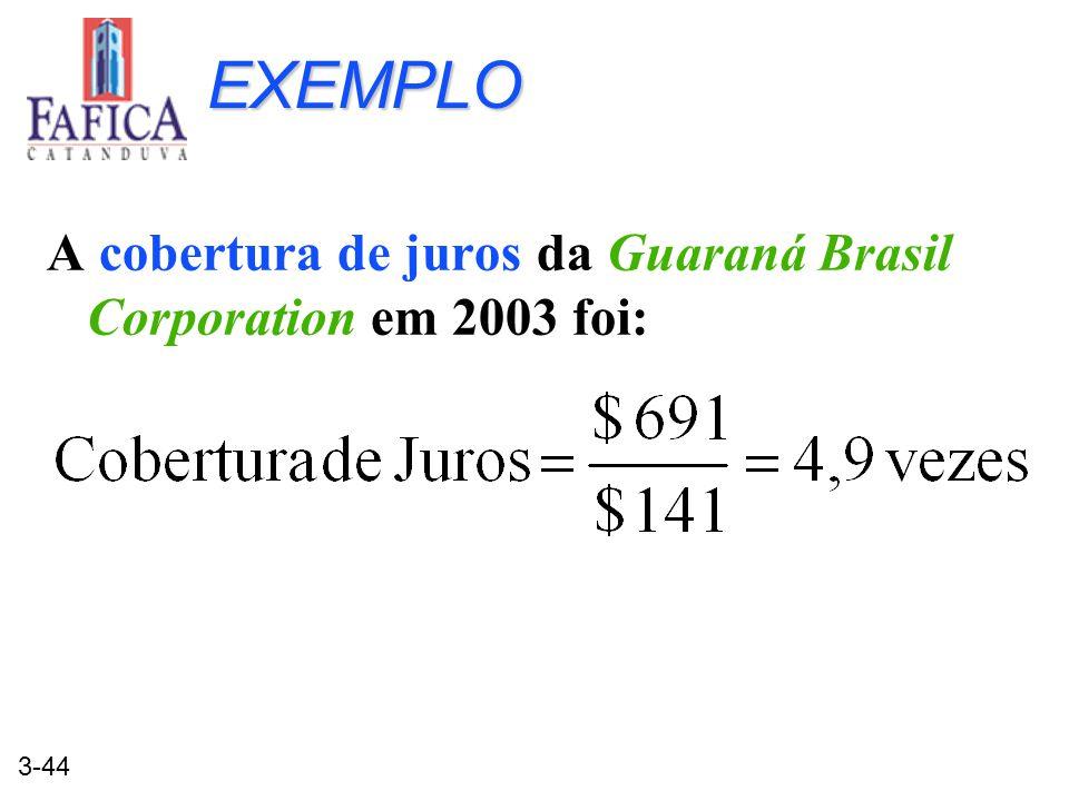 EXEMPLO A cobertura de juros da Guaraná Brasil Corporation em 2003 foi: