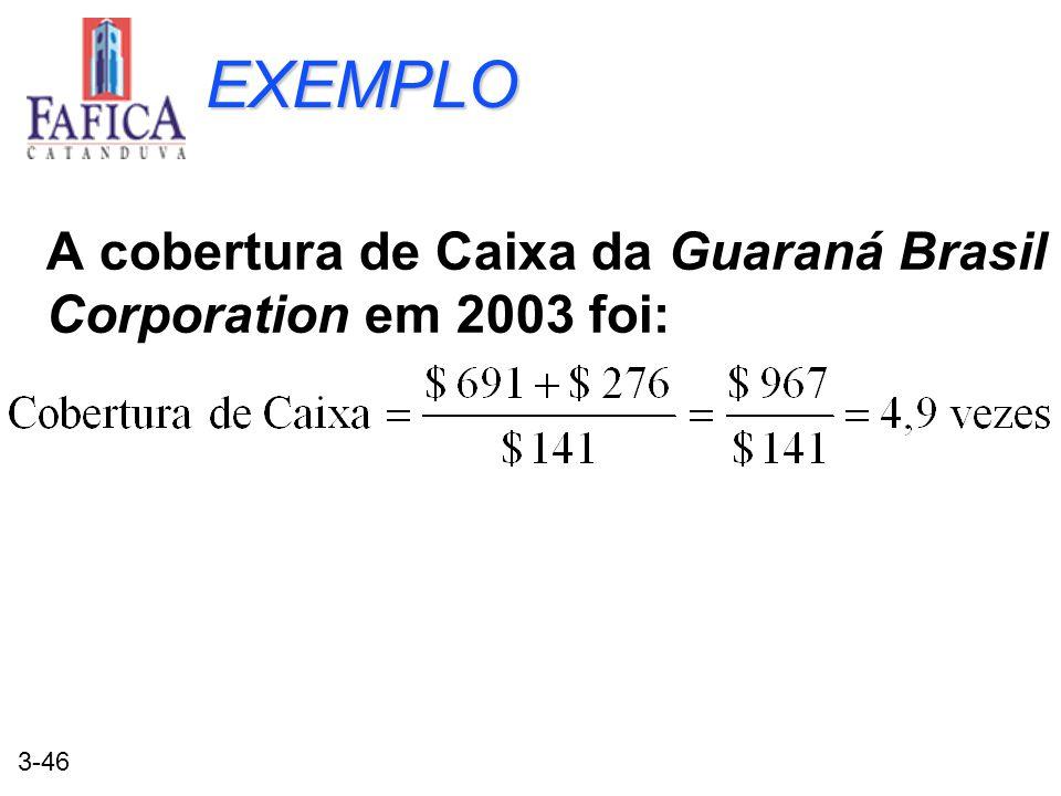 EXEMPLO A cobertura de Caixa da Guaraná Brasil Corporation em 2003 foi: