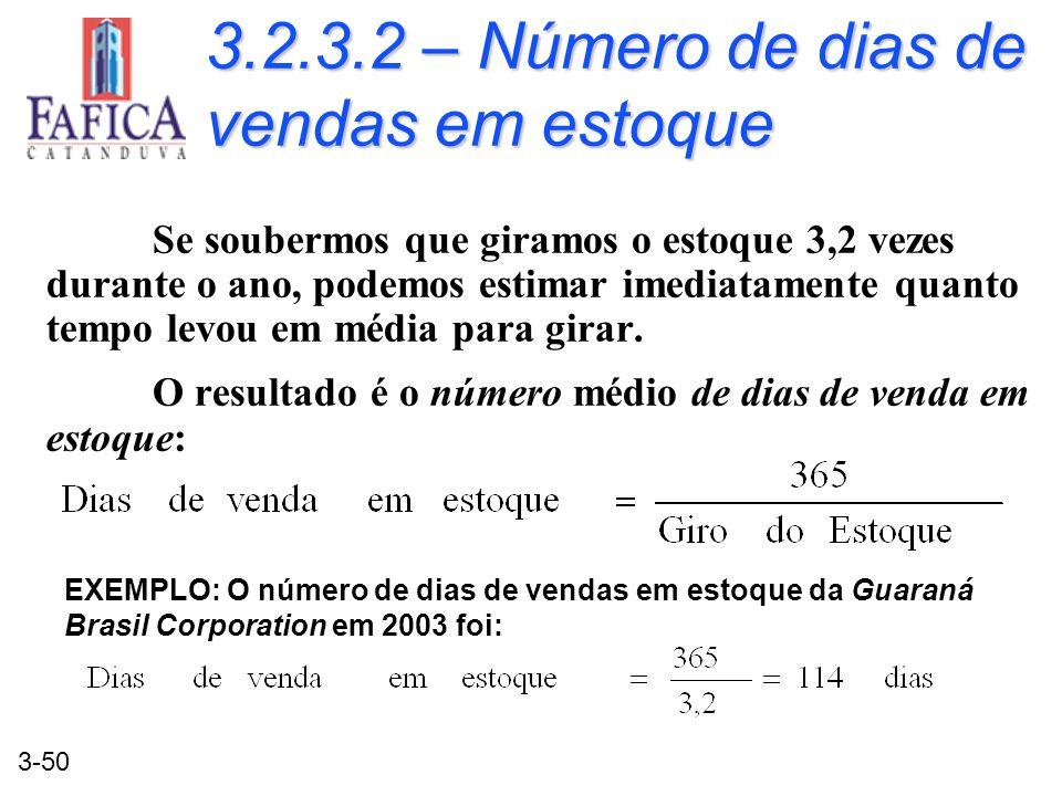 3.2.3.2 – Número de dias de vendas em estoque