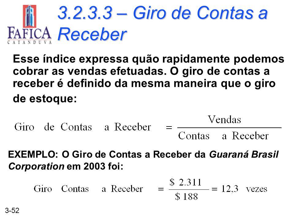3.2.3.3 – Giro de Contas a Receber