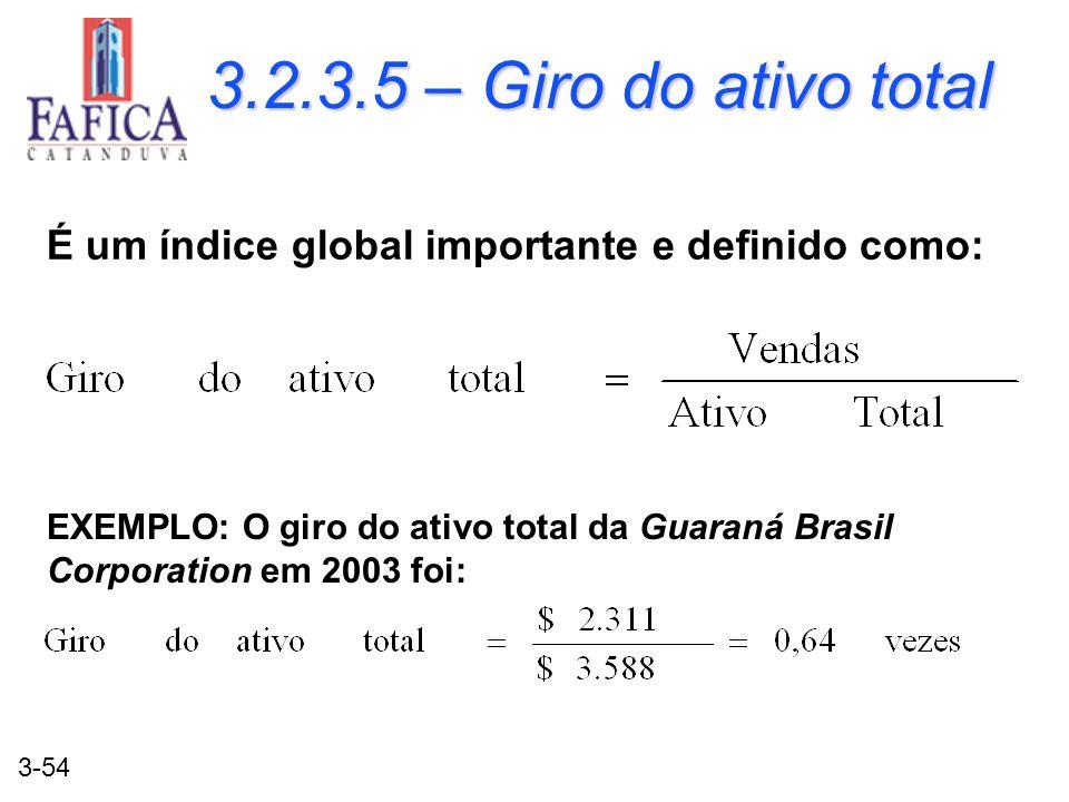 3.2.3.5 – Giro do ativo total É um índice global importante e definido como:
