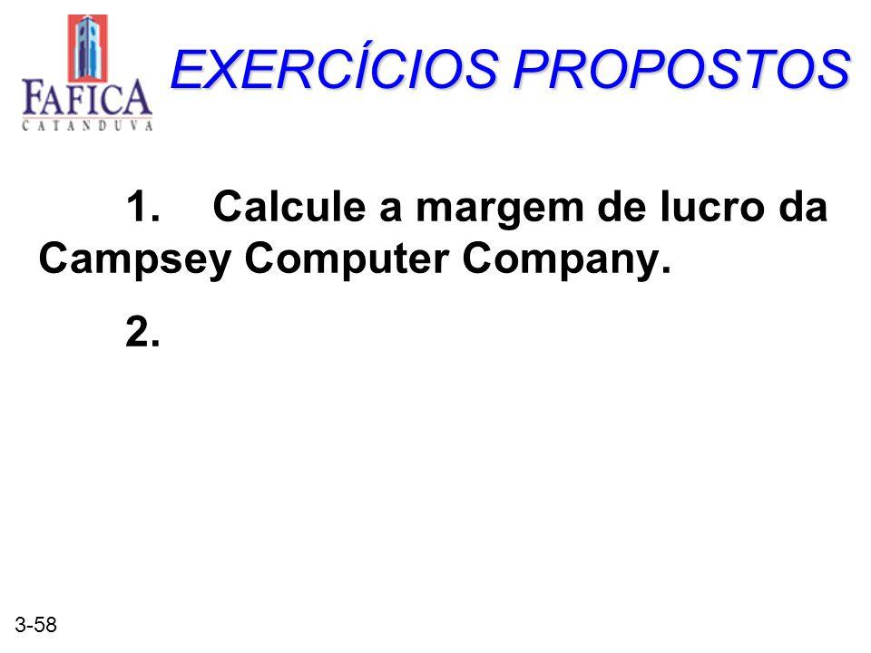 EXERCÍCIOS PROPOSTOS 1. Calcule a margem de lucro da Campsey Computer Company. 2.