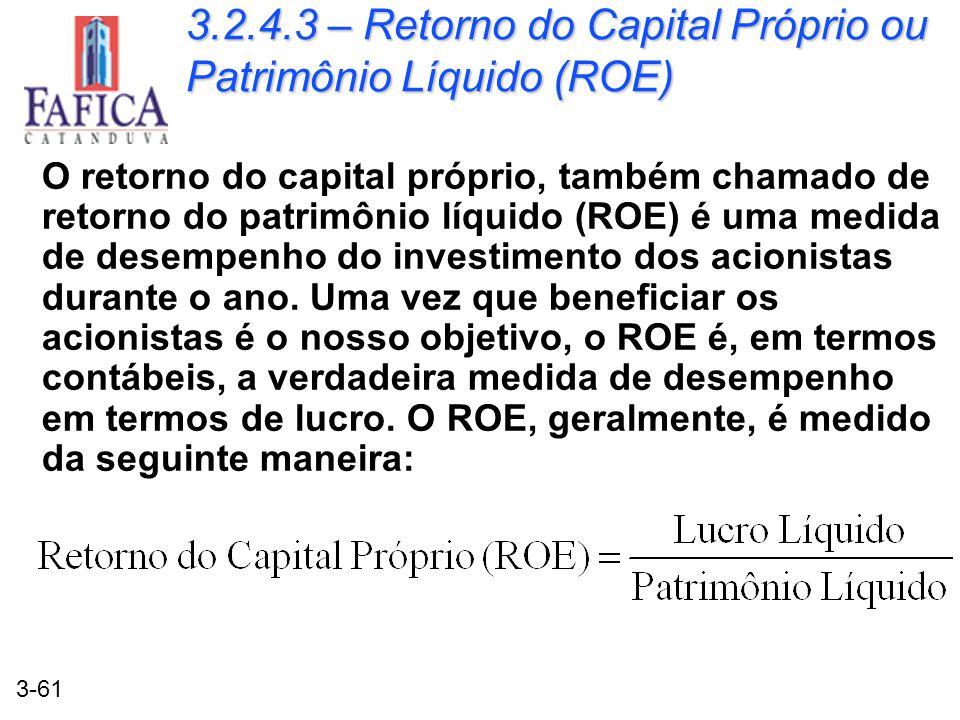 3.2.4.3 – Retorno do Capital Próprio ou Patrimônio Líquido (ROE)