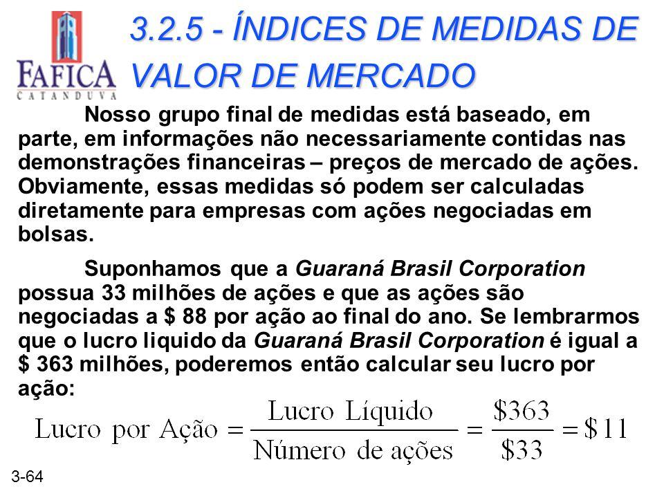 3.2.5 - ÍNDICES DE MEDIDAS DE VALOR DE MERCADO