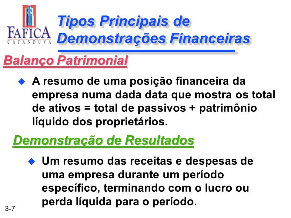 Tipos Principais de Demonstrações Financeiras