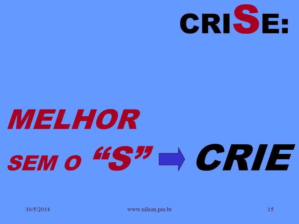 CRISE: MELHOR SEM O S CRIE 31/03/2017 www.nilson.pro.br