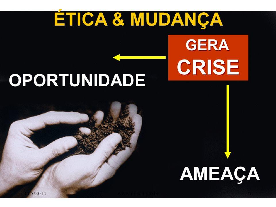 CRISE AMEAÇA ÉTICA & MUDANÇA OPORTUNIDADE GERA 31/03/2017
