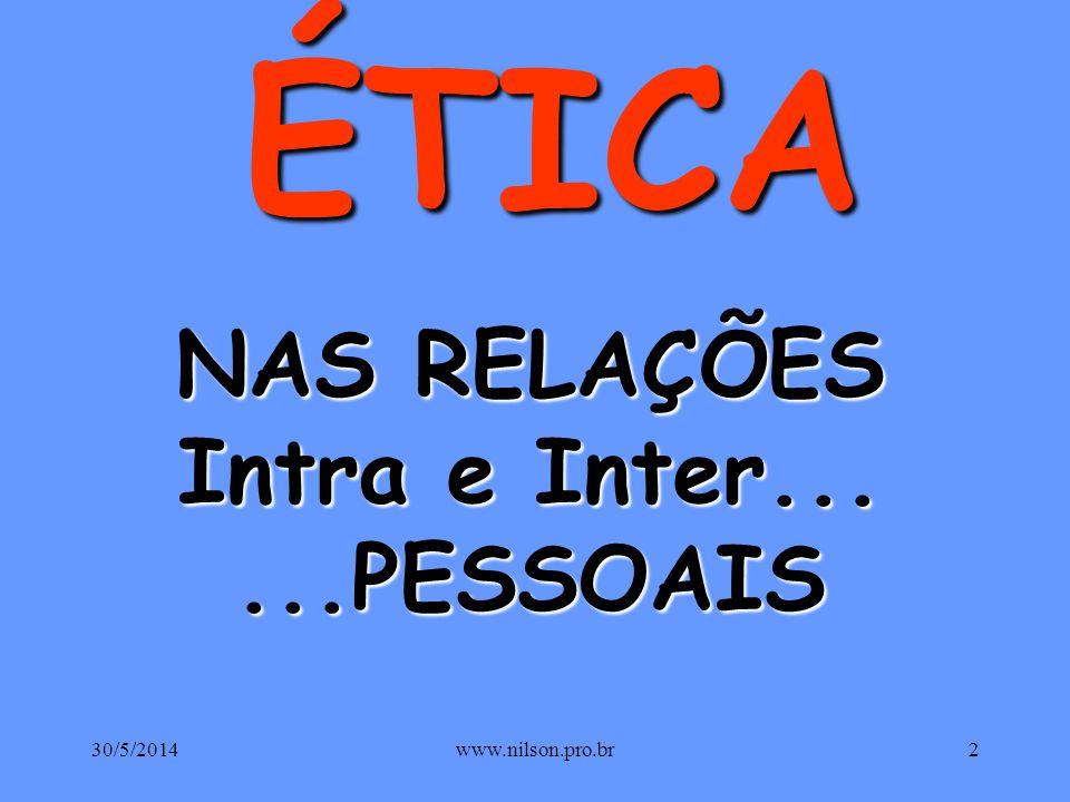 NAS RELAÇÕES Intra e Inter... ...PESSOAIS