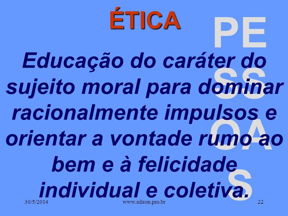 ÉTICA Educação do caráter do sujeito moral para dominar racionalmente impulsos e orientar a vontade rumo ao bem e à felicidade individual e coletiva.