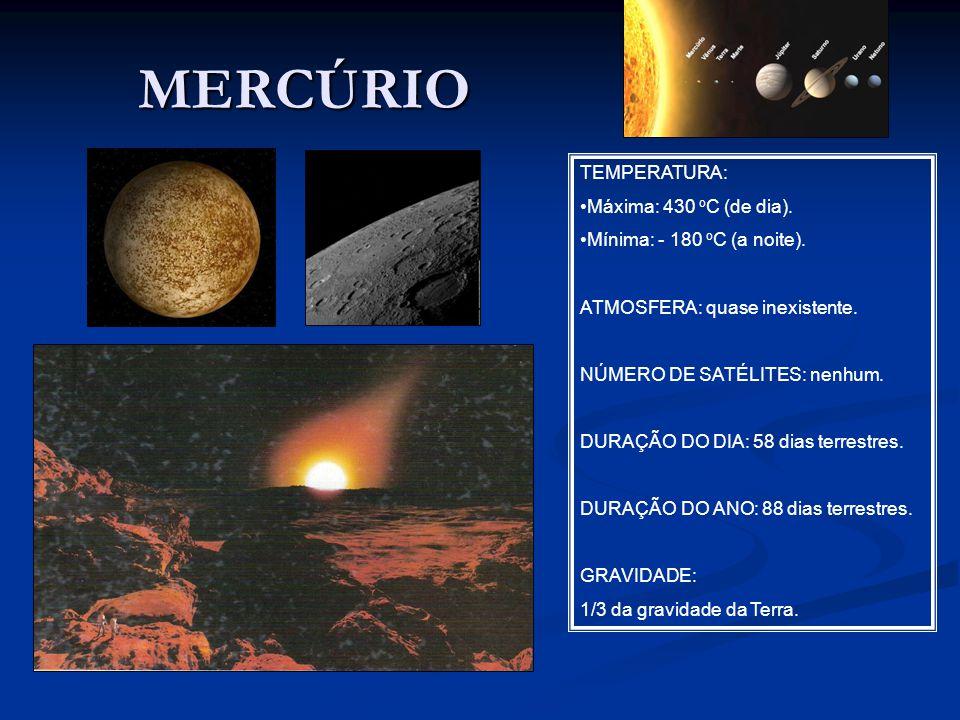 MERCÚRIO TEMPERATURA: Máxima: 430 oC (de dia).
