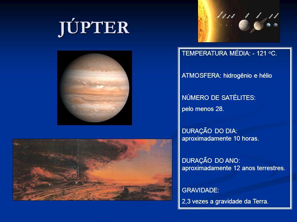 JÚPTER TEMPERATURA MÉDIA: - 121 oC. ATMOSFERA: hidrogênio e hélio