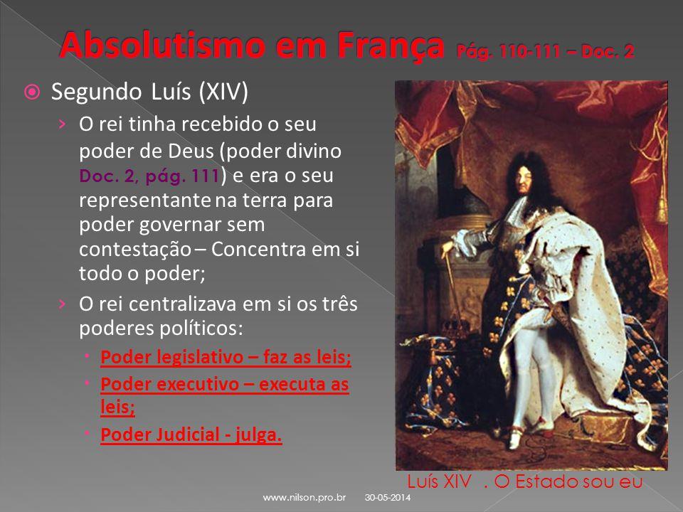 Absolutismo em França Pág. 110-111 – Doc. 2