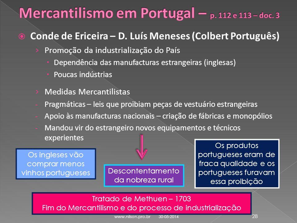 Mercantilismo em Portugal – p. 112 e 113 – doc. 3