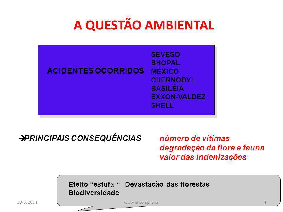 A QUESTÃO AMBIENTAL ACIDENTES OCORRIDOS