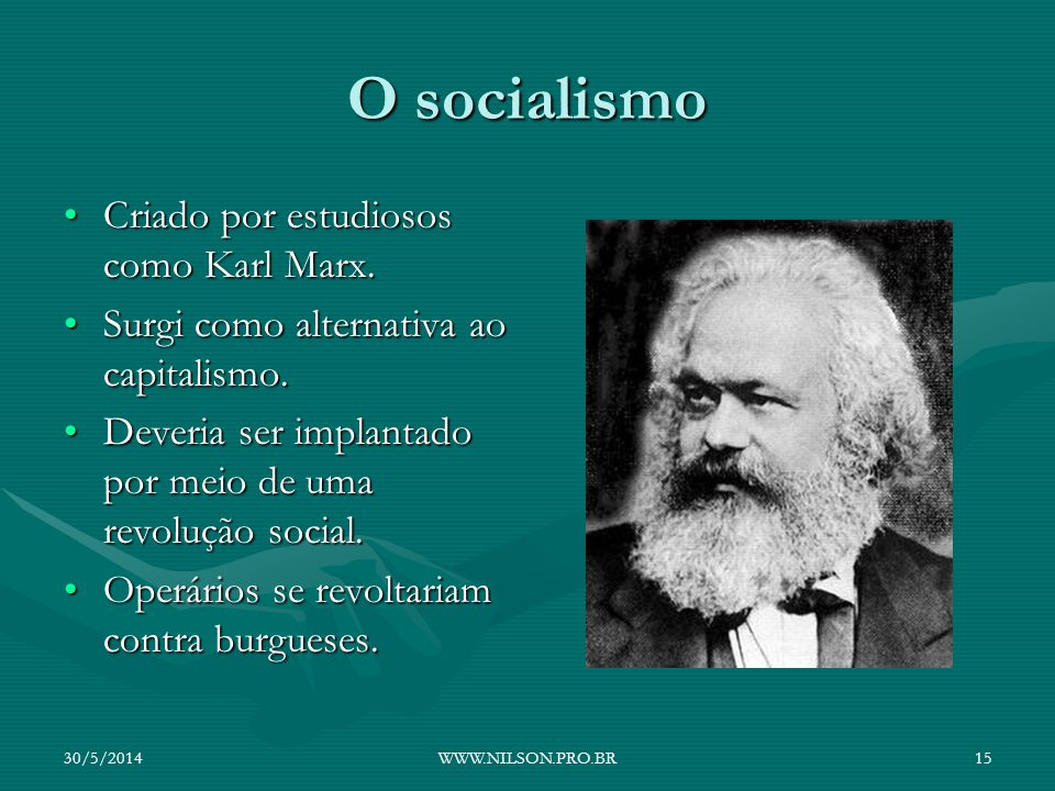 O socialismo Criado por estudiosos como Karl Marx.