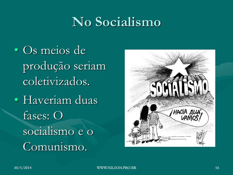 No Socialismo Os meios de produção seriam coletivizados.