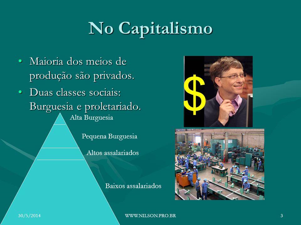 No Capitalismo Maioria dos meios de produção são privados.