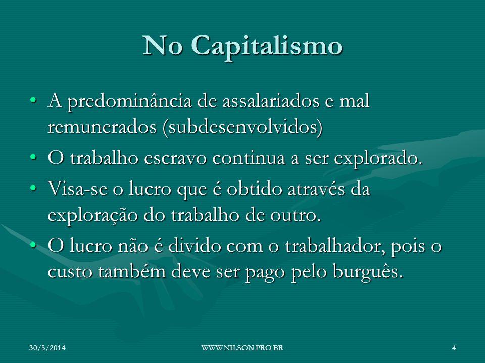 No Capitalismo A predominância de assalariados e mal remunerados (subdesenvolvidos) O trabalho escravo continua a ser explorado.