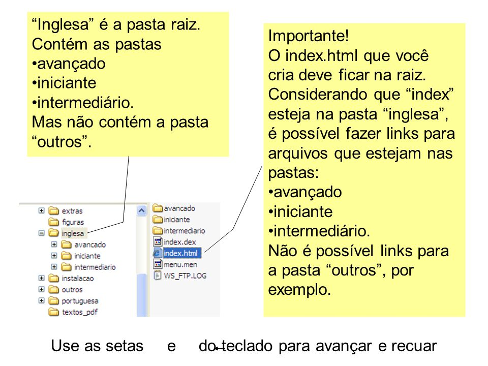 Use as setas e do teclado para avançar e recuar