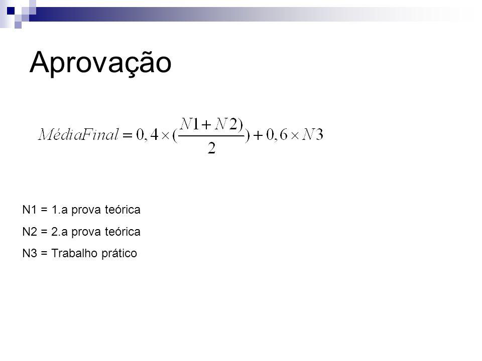 Aprovação N1 = 1.a prova teórica N2 = 2.a prova teórica