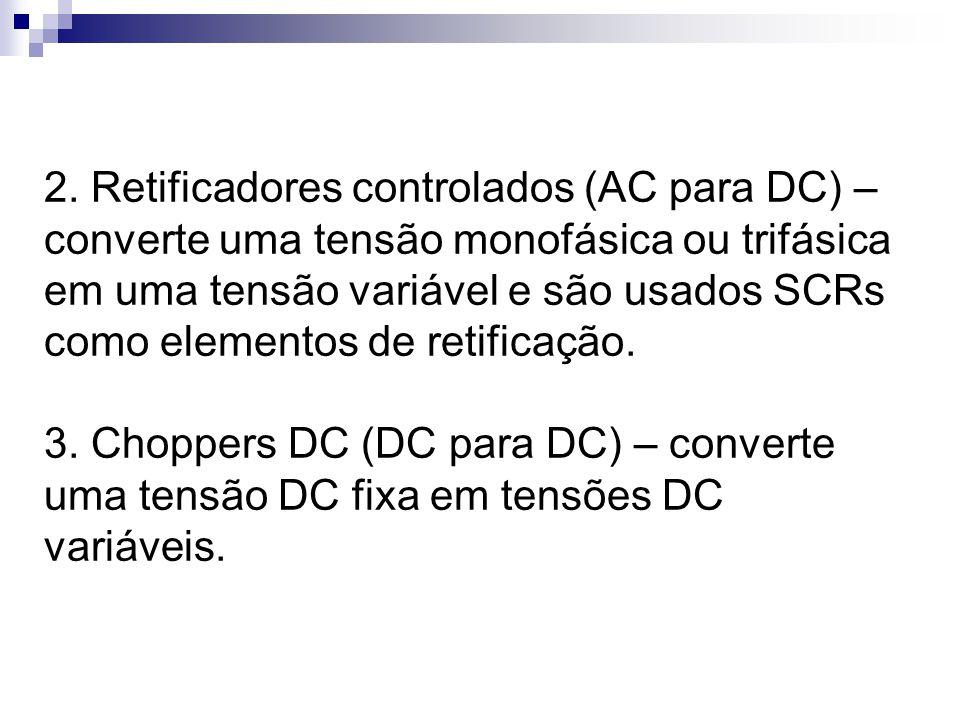 2. Retificadores controlados (AC para DC) – converte uma tensão monofásica ou trifásica em uma tensão variável e são usados SCRs como elementos de retificação.