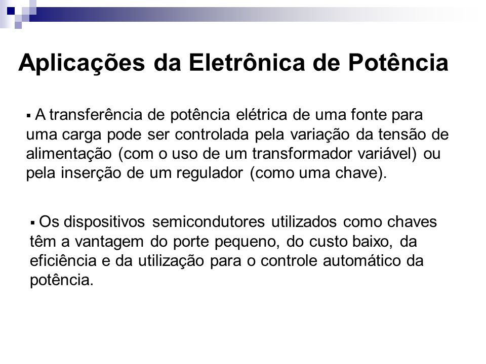 Aplicações da Eletrônica de Potência