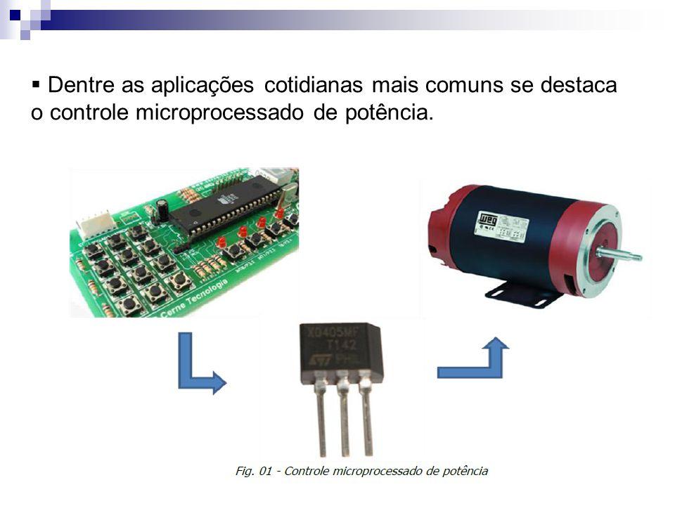 Dentre as aplicações cotidianas mais comuns se destaca o controle microprocessado de potência.