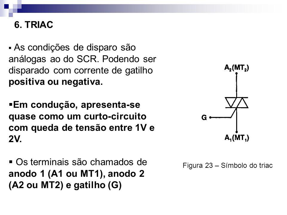 6. TRIAC As condições de disparo são análogas ao do SCR. Podendo ser disparado com corrente de gatilho positiva ou negativa.