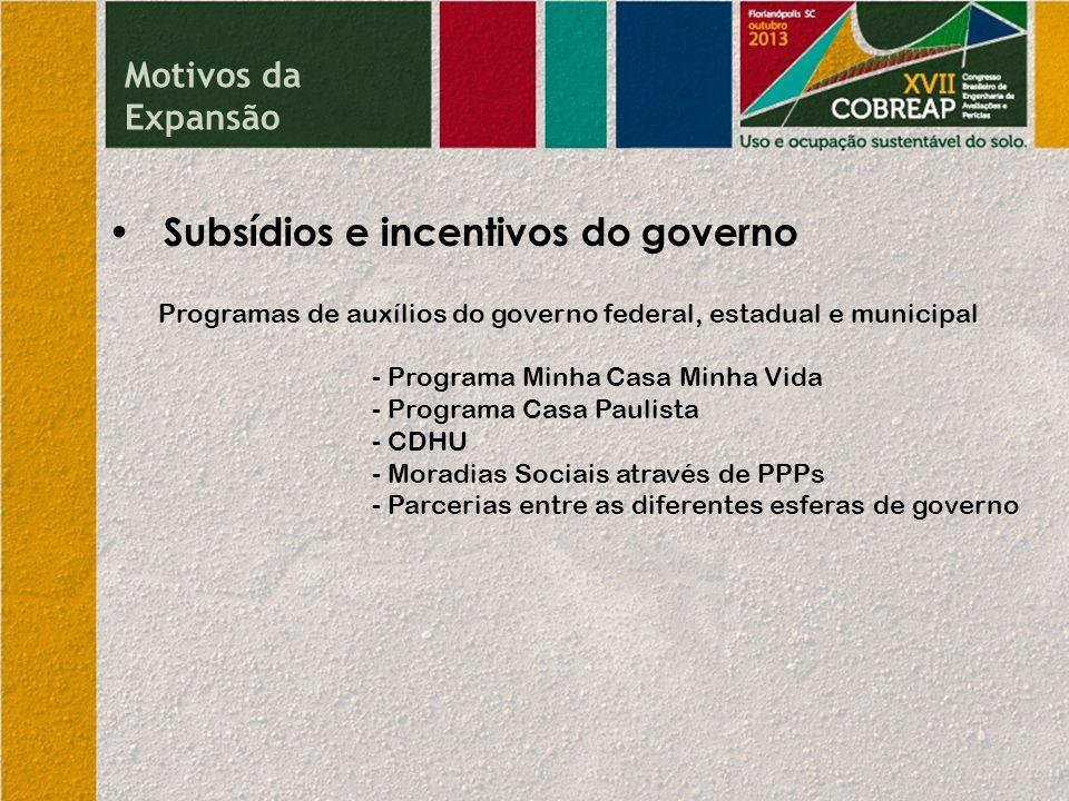 • Subsídios e incentivos do governo