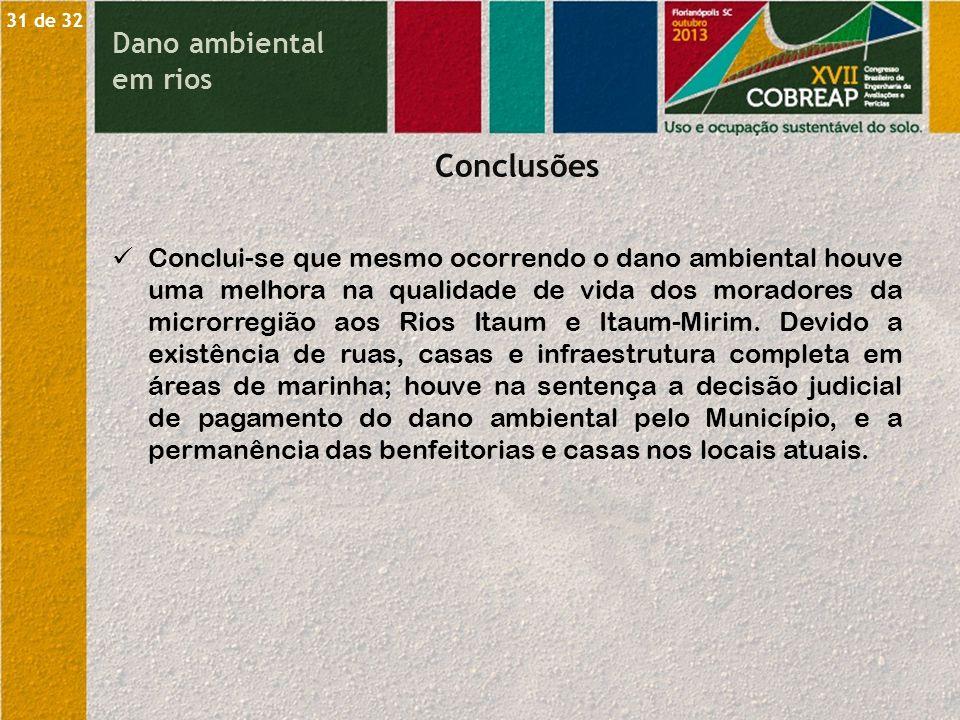 Conclusões Dano ambiental em rios
