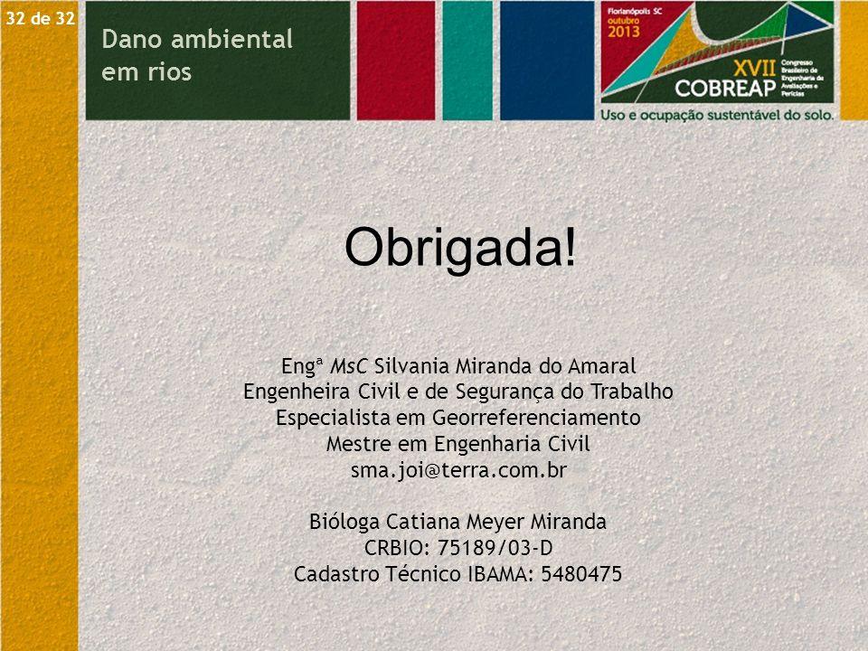 Obrigada! Dano ambiental em rios Engª MsC Silvania Miranda do Amaral