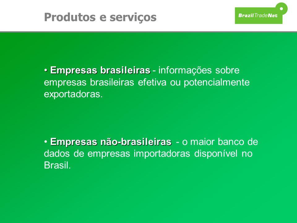 Produtos e serviçosEmpresas brasileiras - informações sobre empresas brasileiras efetiva ou potencialmente exportadoras.