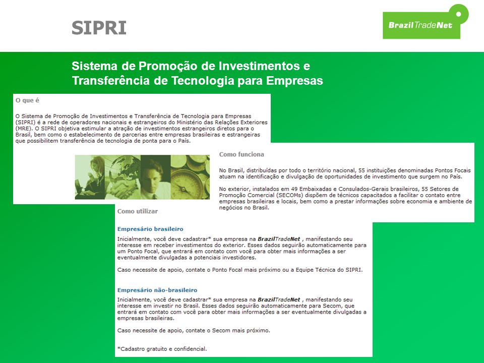 SIPRI Sistema de Promoção de Investimentos e Transferência de Tecnologia para Empresas.