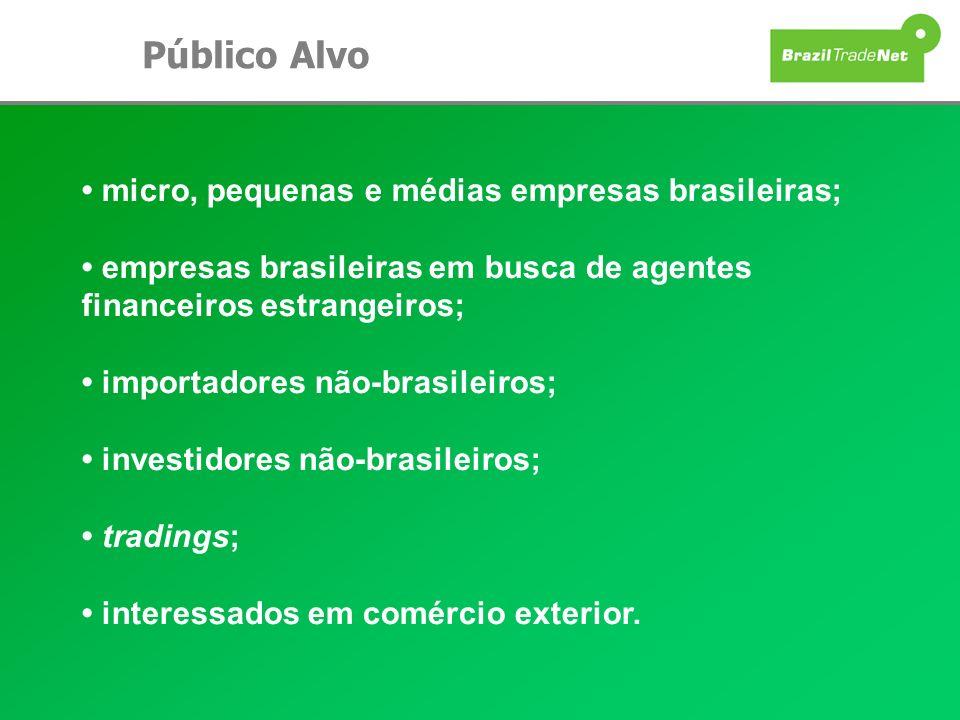 Público Alvo • micro, pequenas e médias empresas brasileiras; • empresas brasileiras em busca de agentes financeiros estrangeiros;