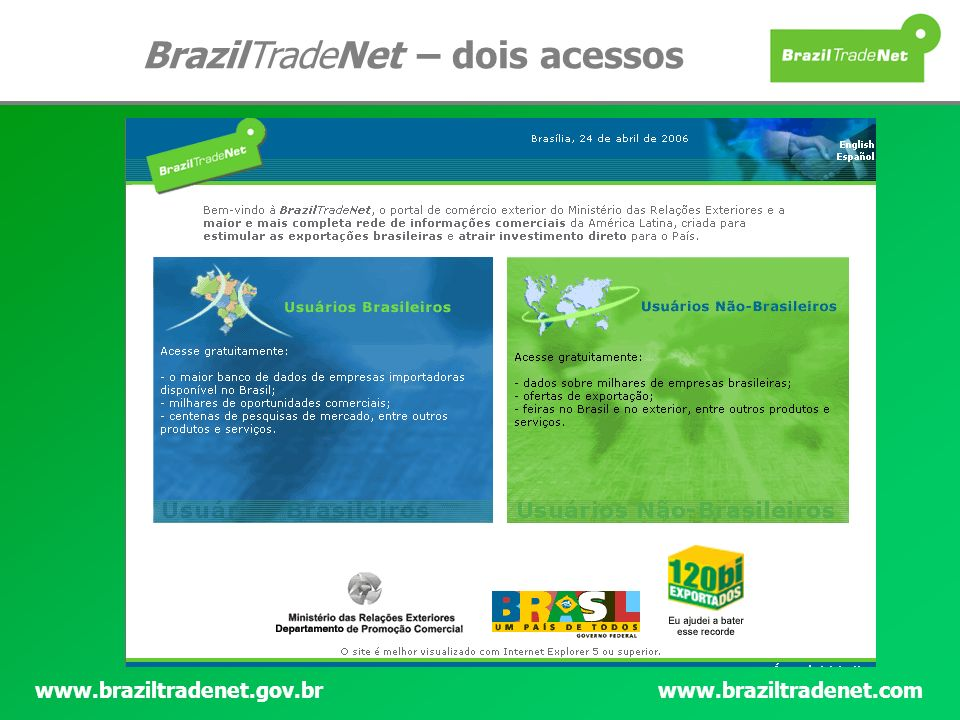 BrazilTradeNet – dois acessos