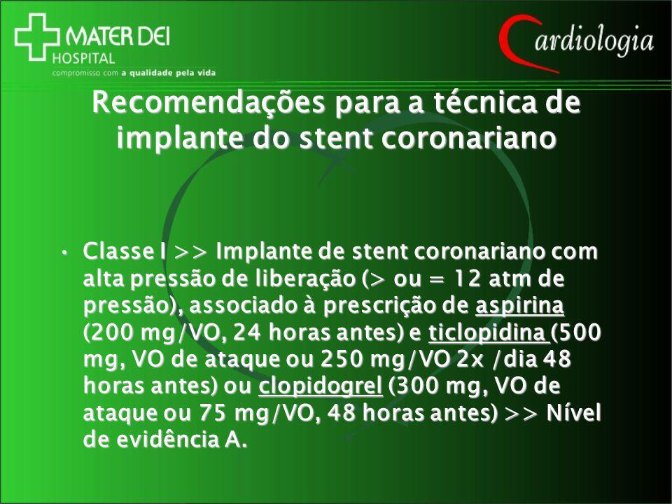Recomendações para a técnica de implante do stent coronariano