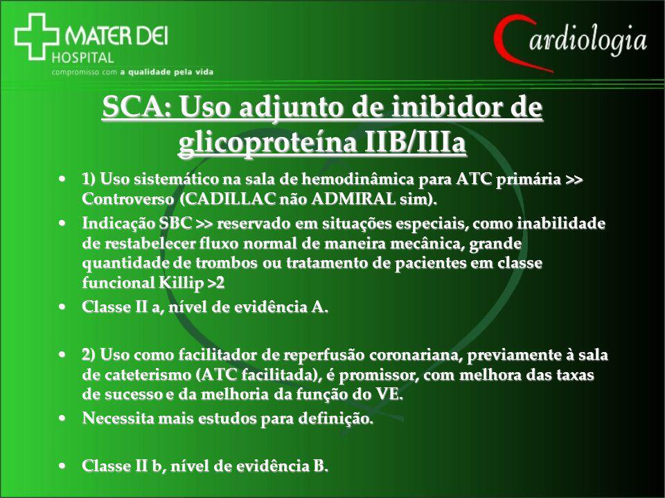 SCA: Uso adjunto de inibidor de glicoproteína IIB/IIIa