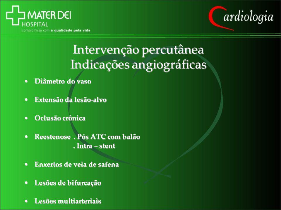 Intervenção percutânea Indicações angiográficas