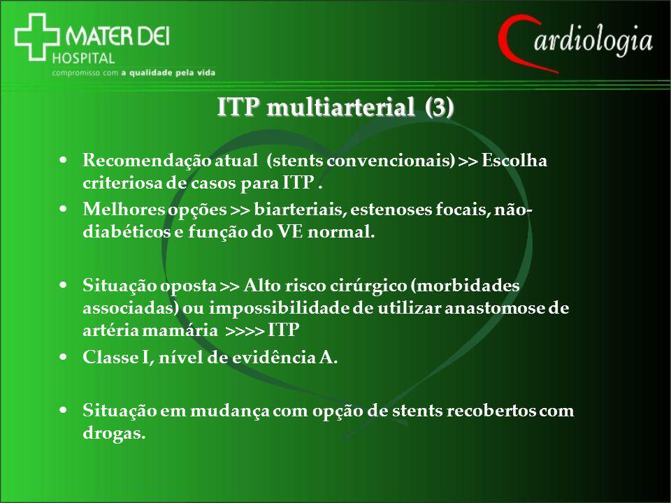 ITP multiarterial (3) Recomendação atual (stents convencionais) >> Escolha criteriosa de casos para ITP .