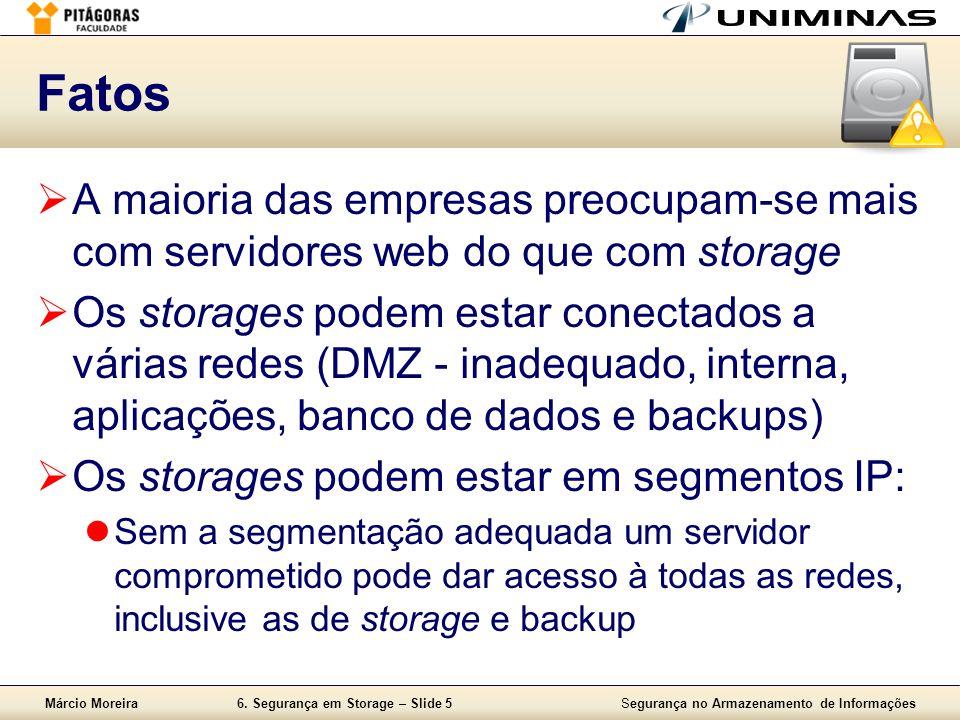 Fatos A maioria das empresas preocupam-se mais com servidores web do que com storage.