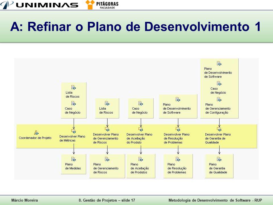 A: Refinar o Plano de Desenvolvimento 1