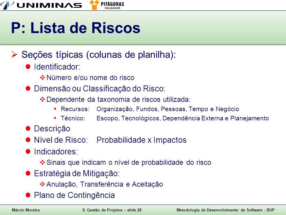 P: Lista de Riscos Seções típicas (colunas de planilha):