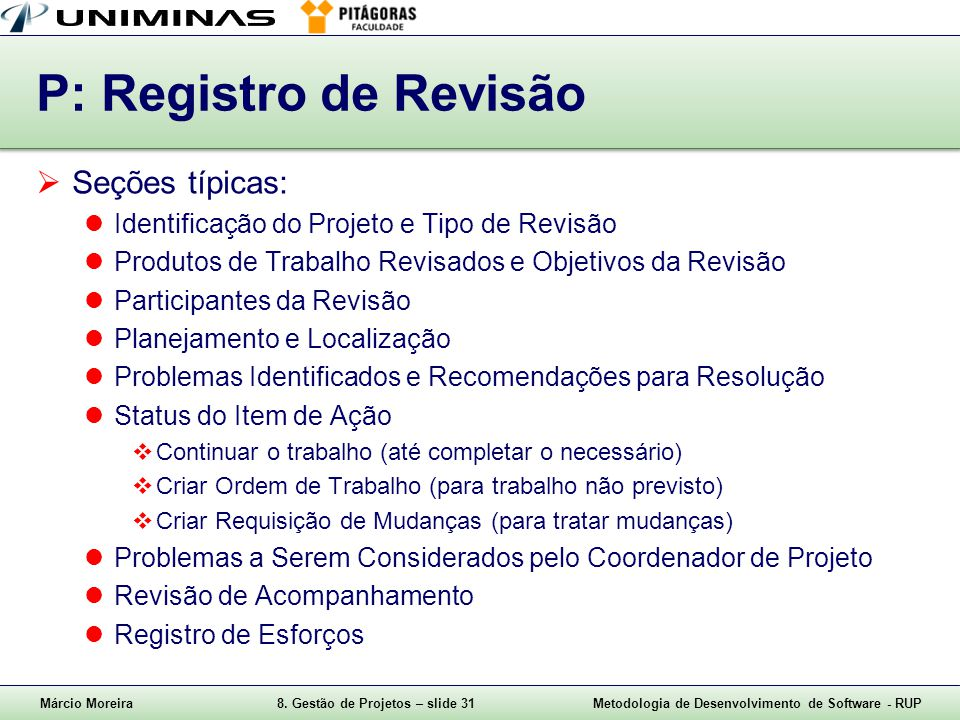 P: Registro de Revisão Seções típicas: