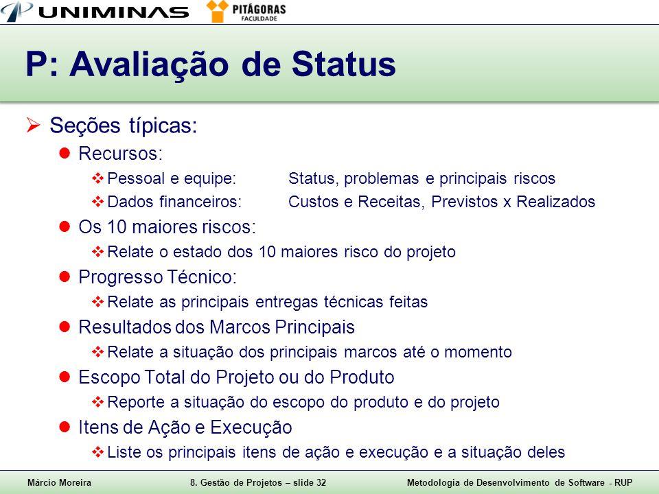 P: Avaliação de Status Seções típicas: Recursos: Os 10 maiores riscos: