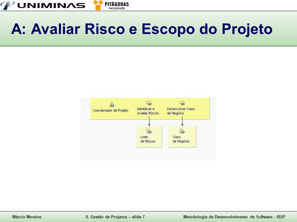 A: Avaliar Risco e Escopo do Projeto