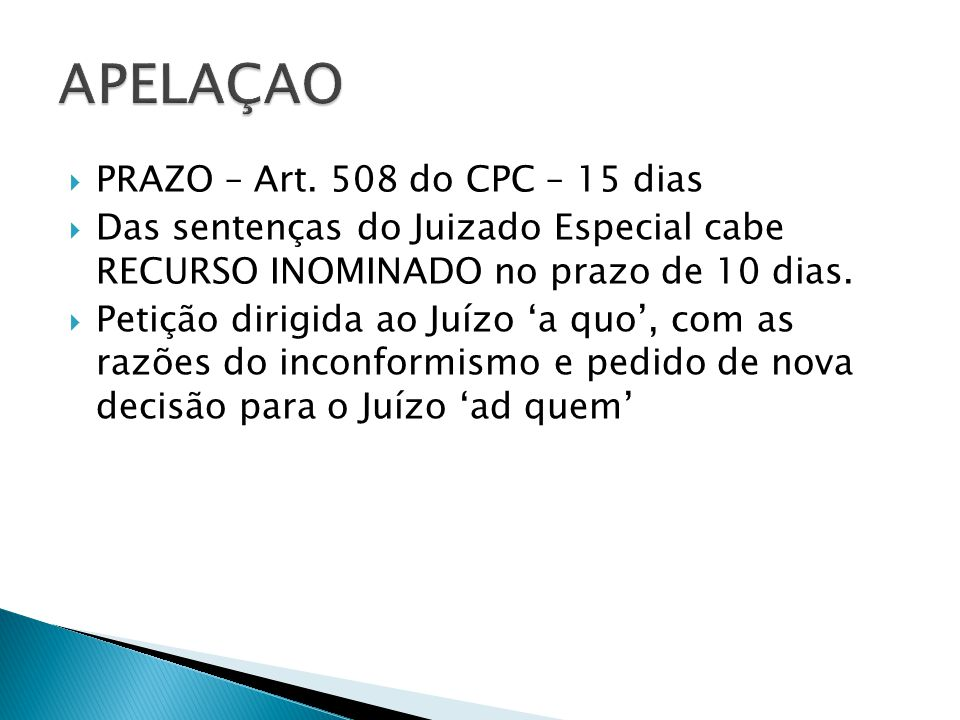 APELAÇAO PRAZO – Art. 508 do CPC – 15 dias