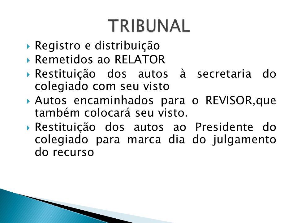 TRIBUNAL Registro e distribuição Remetidos ao RELATOR